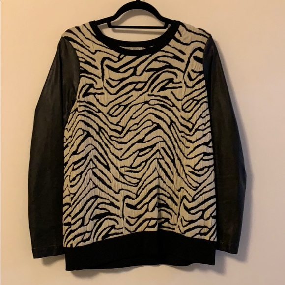 Search for Sanity Sweaters - Patterned Sweater with Leather Sleeves
